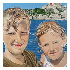 Oil Portrait Drawing of Oliver & Christina, link to full image