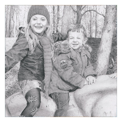 Pencil Portrait Drawing of Izzie & Josh, link to full image