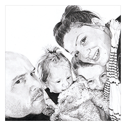 Pencil Portrait Drawing of the Colbourne family, link to full image